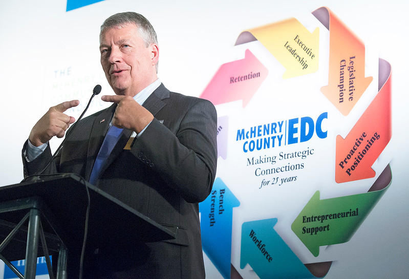 John Smith, with Miller Formless in McHenry, speaks during the awards at the McHenry County Economic Development Corp. annual dinner at the Holiday Inn on Tuesday, November 7, 2017 in Crystal Lake, Illinois. John Konstantaras photo for Shaw Media