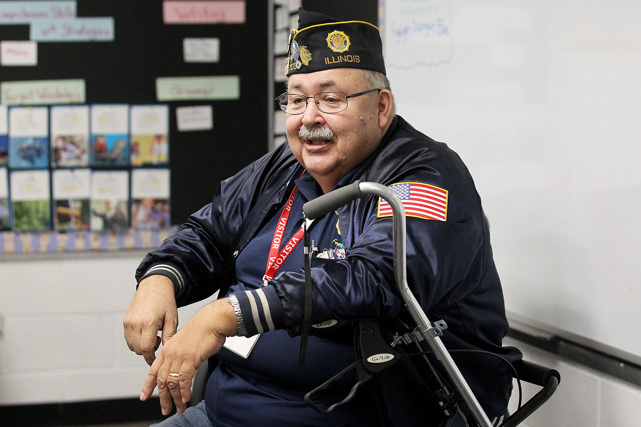 Candace H. Johnson-For Shaw Media Vietnam veteran Ray Powroznik, of Grayslake, who served with the United States Navy Seabees, talks to students about his experience in honor of Veterans Day at Gavin South Middle School in Ingleside.