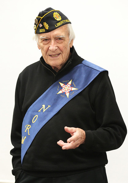 Candace H. Johnson-For Shaw Media Don Carter, 92, of Libertyville, an Army veteran who was a member of the 44th Field Artillery Battalion, 4th Infantry Division, during World War II, talks to third grade students about storming Normandy as he spoke in honor of Veterans Day at Gavin Central Elementary School in Ingleside.(11/10/17)