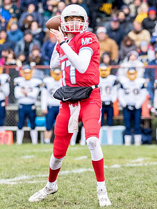 Marian Central Catholic senior Aj Golembiewski drops back for a pass during the Class 5A state quarterfinal game against Sterling Saturday, November 11, 2017 in Woodstock. The Hurricanes come up short falling to Sterling 22-10. KKoontz- For Shaw Media