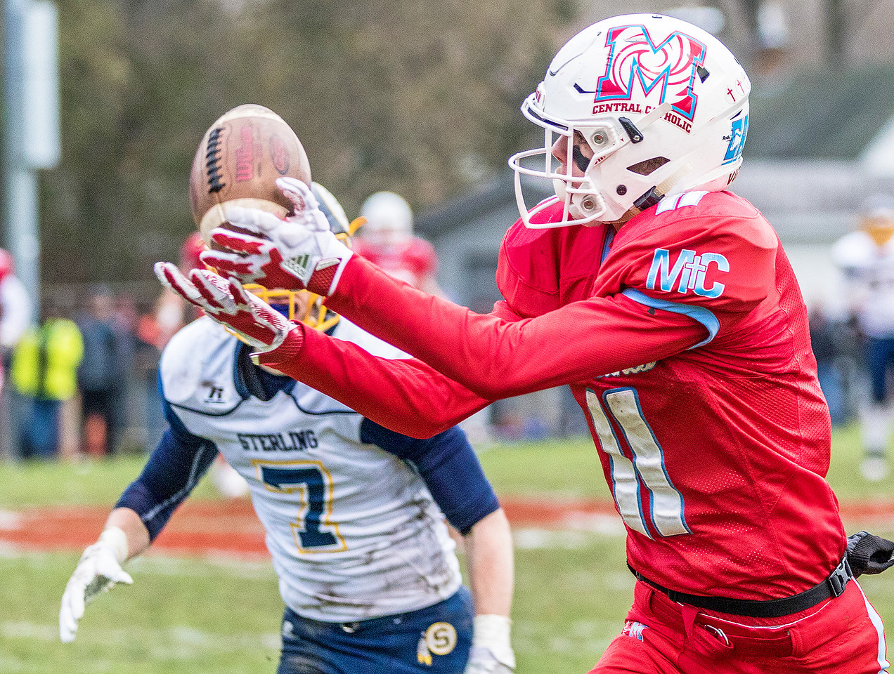 Marian Central Catholic receiver Bryce Radcliffe comes up with an over the shoulder catch setting up the Hurricanes only touchdown during the Class 5A state quarterfinal game Saturday, November 11, 2017 in Woodstock. The Hurricanes come up short falling to Sterling 22-10. KKoontz- For Shaw Media
