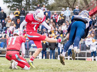 Marian Central Catholic senior kicker Matthew Darbro has his field goal attempt blocked by Sterling's Jayden Villegas (26) during the Class 5A state quarterfinal game Saturday, November 11, 2017 in Woodstock. The Hurricanes come up short falling to Sterling 22-10. KKoontz- For Shaw Media