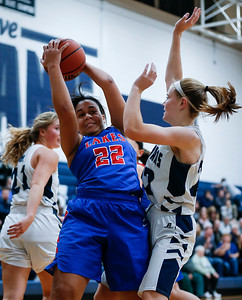 Mia Edwards (22) from Lakes grabs a rebound in front of Elsa Larry (22) from Cary-Grove during the second quarter of their game at Cary-Grove High School on Monday, November 13, 2017 in Cary, Illinois. The Trojans defeated the Eagles 47-22. John Konstantaras photo for Shaw Media