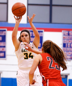 Sarah Nader - snader@shawmedia.com Crystal Lake South's Brooke Kuffel shoots a basket during the second quarter of Friday's game against Palatine at the Dundee-Crown Girls Basketball Thanksgiving Tournament Nov. 17, 2017. Crystal Lake South lost in overtime, 40-41.