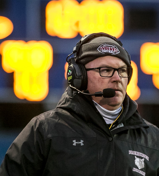 Sarah Nader - snader@shawmedia.com Prairie Ridge head football coach Chris Schremp during Saturday's Class 6A state semifinal game against Hoffman Estates Nov. 18, 2017. Prairie Ridge won, 42-21.