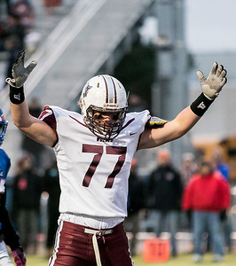 Sarah Nader - snader@shawmedia.com Prairie Ridge's Jeffrey Jenkins celebrates a touchdown during the first quarter at Saturday's Class 6A state semifinal game against Hoffman Estates Nov. 18, 2017. Prairie Ridge won, 42-21.