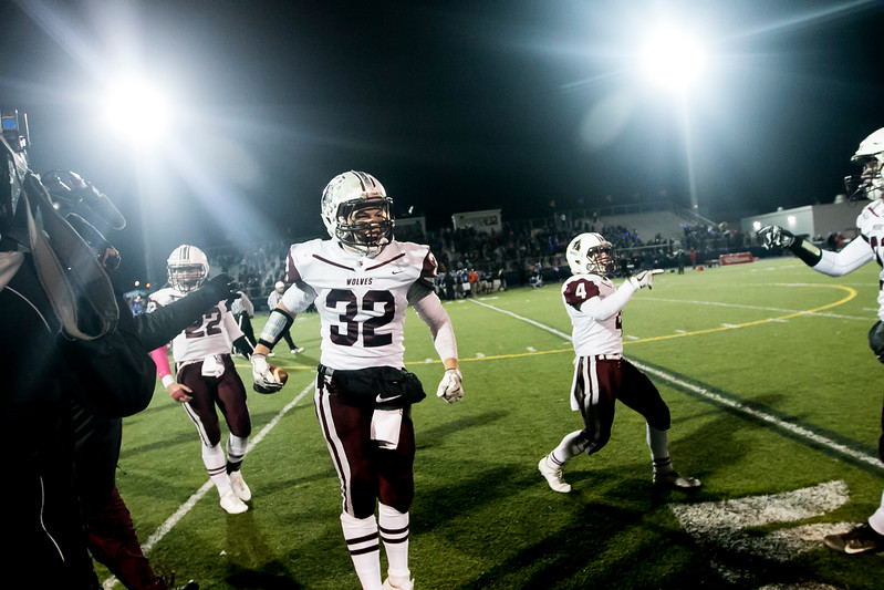 Sarah Nader - snader@shawmedia.com Prairie Ridge's Zach Gulbransen celebrates after the team won Saturday's Class 6A state semifinal game against Hoffman Estates Nov. 18, 2017. Prairie Ridge won, 42-21.