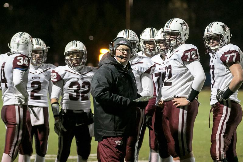 Sarah Nader - snader@shawmedia.com Prairie Ridge's head football coach Chris Schremp talks to the team during Saturday's Class 6A state semifinal game against Hoffman Estates Nov. 18, 2017. Prairie Ridge won, 42-21.