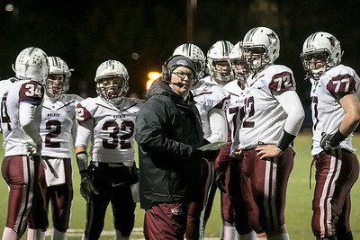 Sarah Nader - snader@shawmedia.com Prairie Ridge's head football coach Chris Schremp talks to the team during Saturday's Class 6A state semifinal game against Hoffman Estates Nov. 18, 2017. Prairie Ridge won, 42-21.