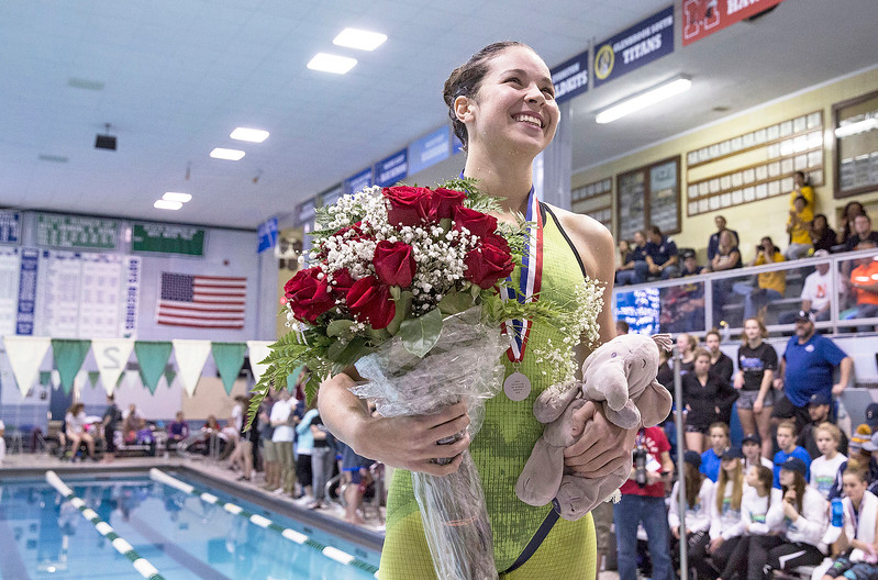 Valerie Tarazi with Crystal Lake Coop, with her award after finishing with second place finish in the 100-Yard Breaststroke during the IHSA Swimming and Diving Championships at New Trier High School on Saturday, November 18, 2017 in Winnetka, Illinois. John Konstantaras photo for Shaw Media