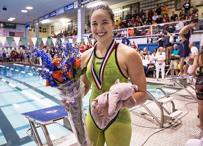 Valerie Tarazi with Crystal Lake Coop, walks from the awards stand after finishing in third place in the 200-Yard Individual Medley finals during the IHSA Swimming and Diving Championships at New Trier High School on Saturday, November 18, 2017 in Winnetka, Illinois. John Konstantaras photo for Shaw Media