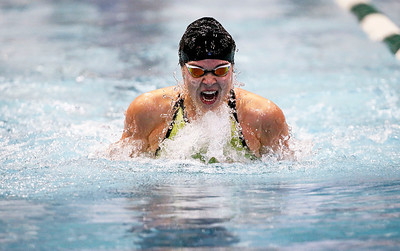 Valerie Tarazi with Crystal Lake Coop, swims to a second place finish in the 100-Yard Breaststroke during the IHSA Swimming and Diving Championships at New Trier High School on Saturday, November 18, 2017 in Winnetka, Illinois. John Konstantaras photo for Shaw Media