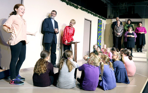 A rehearsal for The Best Christmas Pageant Ever – The Musical, put on by Stageworks Theater Arts in Geneva.