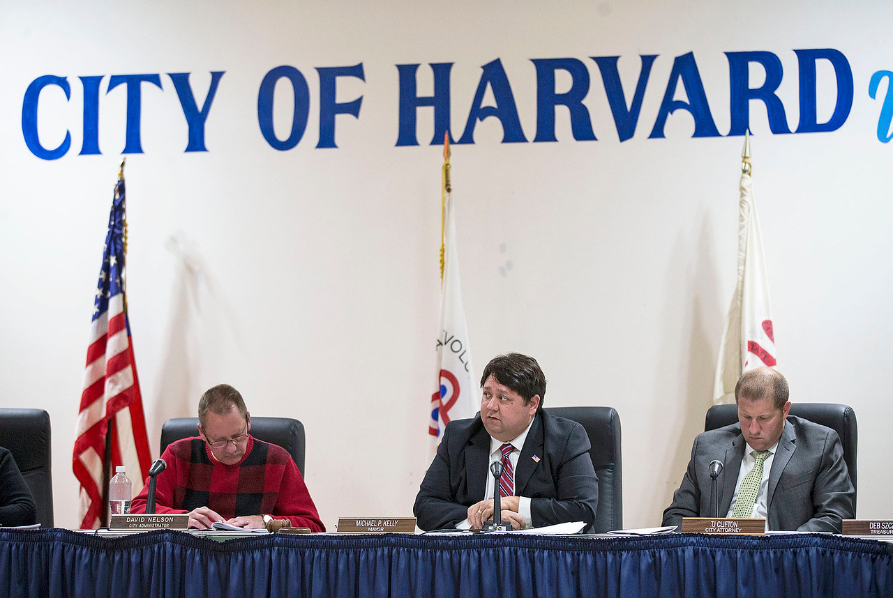 Harvard Mayor Michael Kelly discusses the William Coventry House during their city council meeting at City Hall on Tuesday, November 28, 2017 in Harvard, Illinois. The council voted authorize the mayor to submit written notification to McHenry County to terminate the agreement to preserve the historic Coventry house on the site of the former Motorola property. John Konstantaras photo for Shaw Media