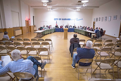 Harvard city council discusses the William Coventry House during their meeting at City Hall on Tuesday, November 28, 2017 in Harvard, Illinois. The council voted authorize the Mayor Michael Kelly to submit written notification to McHenry County to terminate the agreement to preserve the historic Coventry house on the site of the former Motorola property. John Konstantaras photo for Shaw Media