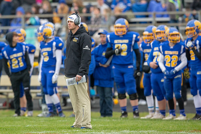 Johnsburg Head Football Coach Sam Lesniak waits for an official's ruling in the second-round Class 4A playoff game Saturday, November 3, 2018 in Johnsburg. Coal City went on to win the game 33-14. Lesniak finishes his first year as the Skyhawks head coach with a 7-4 record.  KKoontz –For Shaw Media