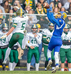 Johnsburg's Gibson Groves comes up with a big catch against Coal City in the second-round Class 4A playoff game Saturday, November 3, 2018 in Johnsburg. Coal City went on to win the game 33-14 and will face Richmond-Burton next week.  KKoontz –For Shaw Media