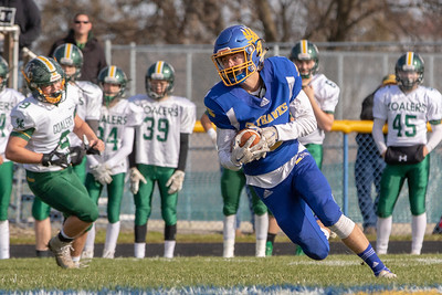 Johnsburg's Jonathan Preston intercepts a Coal City pass in the first quarter and heads up-field giving the Skyhawks good field position in the first quarter of the second-round Class 4A playoff game Saturday, November 3, 2018 in Johnsburg. Coal City went on to win the game 33-14 and will face Richmond-Burton next week.  KKoontz –For Shaw Media