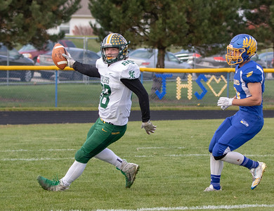 Austin Pullara makes the catch and scores on fourth down with 6:39 in the second quarter to put Coal City up 23-7 against Johnsburg Saturday, November 3, 2018 in Johnsburg. Cola City went on to win the Class 4A second-round playoff game 33-14 and will face Richmond-Burton next week. KKoontz- For Shaw Media