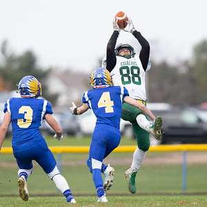 Coal City's Austin Pullara makes a leaping grab for a touchdown in the 33-14 Class 4A second-round playoff game victory over Johnsburg Saturday, November 3, 2018 in Johnsburg.  KKoontz – For Shaw Media