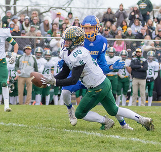 Coal City's Austin Pullara comes up with an interception in the 33-14 Class 4A second-round playoff victory over Johnsburg Saturday, November 3, 2018 in Johnsburg. Coal City will face Richmond-Burton next week. KKoontz – For Shaw Media