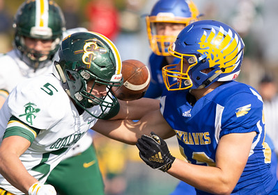 Coal City's Ryan Wasielewski knocks the ball loose from Johnsburg's Austin Lichtenstein early in the first quarter of the second-round Class 4A playoff game Saturday, November 3, 2018 in Johnsburg. Coal City went on to win the game 33-14 and will face Richmond-Burton next week.  KKoontz –For Shaw Media