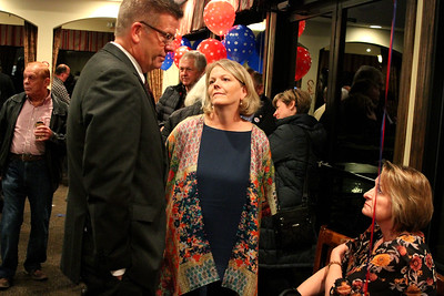 U.S. Rep. Randy Hultgren (R-Plano) made his way through a crowded room of supporters, greeting several, during an election watch party at Kennedy Pointe Restaurant and Pub on Tuesday night.