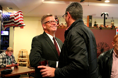 U.S. Rep. Randy Hultgren (R-Plano) shook hands with supporters and introduced himself to his supporters during an election watch party at Kennedy Pointe Restaurant and Pub in Bristol on Tuesday night.