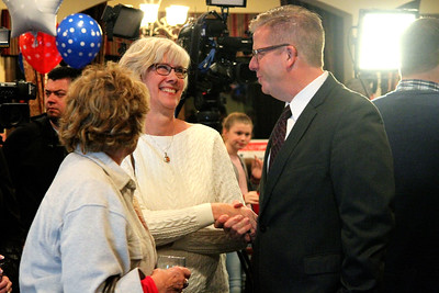 As soon as U.S. Rep. Randy Hultgren (R-Plano) (right) entered Kennedy Pointe Restaurant and Pub in Bristol on Tuesday night, he was swarmed by eager supporters looking to introduce themselves and shake his hand.