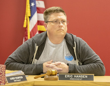Lake in the Hills Sanitary District President Eric Hansen listens to a statement from a resident Thursday, November 8, 2018 at the Lake in the Hills Sanitary District board meeting in Lake in the Hills. KKoontz – For Shaw Media