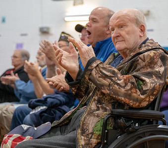 Army Corp of Engineer Veteran James Lee attends the Kids and Veterans Awards Ceremony held Thursday, November 8, 2018 at Northwood Elementary School in Woodstock. KKoontz – For Shaw Media