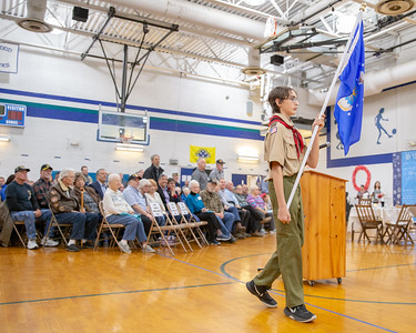 Michael Callicott (Eighth Grade) carries in the United States Air Force flag during the Kids and Veterans Awards Ceremony held Thursday, November 8, 2018 at Northwood Elementary School in Woodstock. KKoontz – For Shaw Media