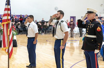 The Colors are presented and saluted during the playing of the national anthem Friday, November 9, 2018 at the Veterans Memorial Ceremony held at McHenry County College in Crystal Lake. KKoontz- For Shaw Media