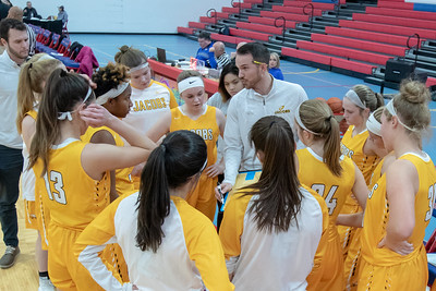 Jacobs' Girls Basketball Coach Jonathon Reibel talks with his team Wednesday, November 14, 2018 against Streamwood during the Dundee-Crown Thanksgiving Girls Basketball Tournament in Carpentersville. Streamwood took the victory 54-45. KKoontz – For Shaw Media