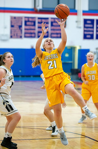 Jacobs High School's Delaney Garden goes in for the layup against Streamwood Wednesday, November 14, 2018 at the Dundee-Crown Thanksgiving Girls Basketball Tournament in Carpentersville. Streamwood took the victory 54-45. KKoontz – For Shaw Media