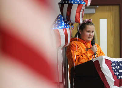 Candace H. Johnson-For Shaw Media Sixth-grade student Jessica Londo, 11, gives the Closing Thank You speech during the Veterans Day Celebration at the William L. Thompson Elementary School in Lake Villa. (11/12/18)