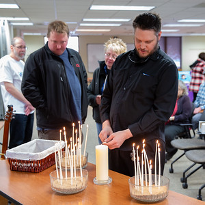 Mat Fritz lights candles remembering those lost to suicide at the annual Day of Remembrance event hosted by the Suicide Prevention Task Force and Survivors Loss support groups Saturday, November 17, 2018 in Crystal Lake.  KKoontz – For Shaw Media