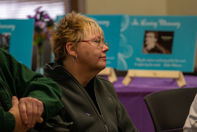 Diane Johnson of Crystal Lake listens to experiences shared by others at The Day of Remembrance, hosted by the Suicide Prevention Task Force and Survivors Loss support groups Saturday, November 17, 2018 in Crystal Lake.  KKoontz – For Shaw Media