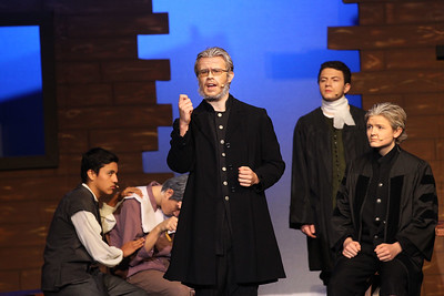 Candace H. Johnson-For Shaw Media Deputy-Governor Danforth, (Alex Maliziola) center, performs a scene with cast members during the fall play called, The Crucible, by Arthur Miller (which is based on the Salem witch trials) at Grant Community High School in Fox Lake. (11/18/18)