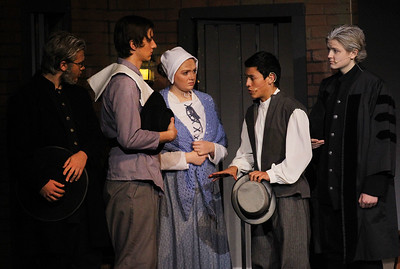 Candace H. Johnson-For Shaw Media Reverend John Hale, (Deon Lopez) second from right, performs a scene with other cast members during the fall play called, The Crucible, by Arthur Miller (which is based on the Salem witch trials) at Grant Community High School in Fox Lake. (11/18/18)