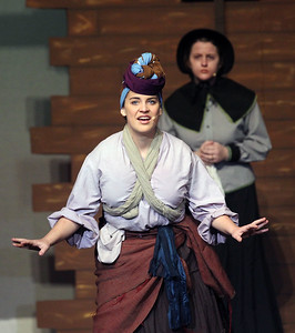 Candace H. Johnson-For Shaw Media Tituba (Kylie Corrao) performs a scene with Mrs. Ann Putnam (Megan Sampson) behind her during the fall play called, The Crucible, by Arthur Miller at Grant Community High School in Fox Lake. (11/18/18)