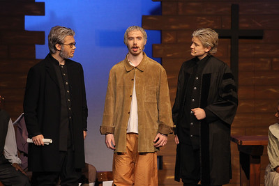 Candace H. Johnson-For Shaw Media Deputy-Governor Danforth, (Alex Maliziola) Giles Corey (Jacob Wagner) and Judge Hathorne (Josh Lanners) perform a scene during the fall play called, The Crucible, by Arthur Miller at Grant Community High School in Fox Lake. (11/18/18)