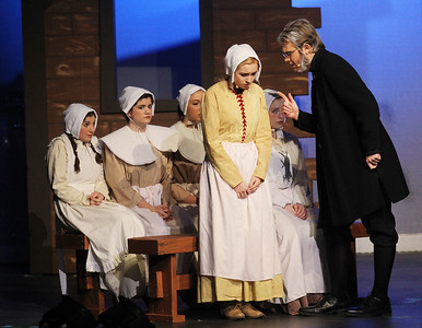 Candace H. Johnson-For Shaw Media Abigail Williams (Faith Smith) is questioned by Deputy-Governor Danforth (Alex Maliziola) during the fall play called, The Crucible, by Arthur Miller (which is based on the Salem witch trials) at Grant Community High School in Fox Lake. (11/18/18)