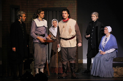 Candace H. Johnson-For Shaw Media Alex Maliziola, Jared Murillo, Jenna Barnowski, Ryan Lewis, Josh Lanners and Emma Lancaster perform a scene during the fall play called, The Crucible, by Arthur Miller (which is based on the Salem witch trials) at Grant Community High School in Fox Lake. (11/18/18)