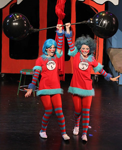 Candace H. Johnson-For Shaw Media Thing 1 and Thing 2 (Hallie Fedorowicz and Teagan Tallungan) lift a 100 ton dumbbell during Seussical The Musical at Wauconda High School. (11/17/18)