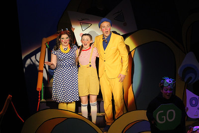 "Candace H. Johnson-For Shaw Media Mrs. Mayor, (Hannah Lochen) JoJo, (EmmaRose Pulio), and Mr. Mayor (Kurt Meinhardt) sing, ""Havin' a Hunch,"" in Act II during Seussical The Musical at Wauconda High School. (11/17/18)"