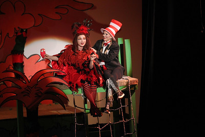 "Candace H. Johnson-For Shaw Media Mayzie La Bird (Erin Benson) and The Cat in the Hat (Carlye Pichman) sing, ""How Lucky You Are,"" in Act I during Seussical The Musical at Wauconda High School. (11/17/18)"