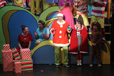 Candace H. Johnson-For Shaw Media The Grinch (Owen Donahue) stands next to Cindy Lou Who (Georgia Reimers) as they perform in the Whos Christmas Pageant during Seussical The Musical at Wauconda High School. (11/17/18)