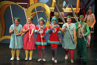Candace H. Johnson-For Shaw Media The Military line up to sing in Act I during Seussical The Musical at Wauconda High School. (11/17/18)