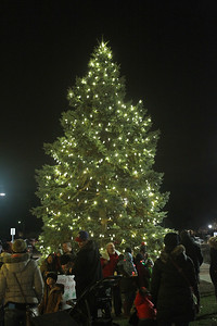 Candace H. Johnson-For Shaw Media People stand around the holiday tree with the lights turned on at Centennial Park during Grayslake's Tree Lighting Festivities in downtown Grayslake. (11/23/18)